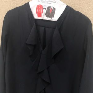 Navy blouse ruffle front Banana Republic Sz XS